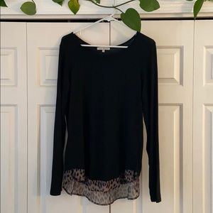 Black long sleeve top with leopard print accent